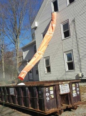 Easy Chute construction waste chute system on the construction site, making construction trash removal easy.